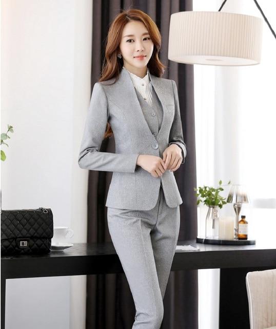 2016 Professionan uniforme Formal diseño trajes pantalón con chaqueta +  Pantalones de mujer carrera abrigos gris 0a9f9092e370