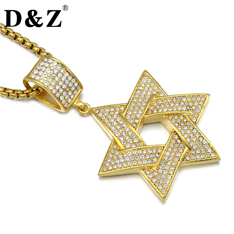 D&Z Hiphop Iced Out David Star Necklace Gold Color Paving CZ Stainless Steel Star of David Pendant & Necklace Jewelry qi ra gold color rear belt pendant with leather rope handmade party jewelry han solo a story of star wars necklace for women