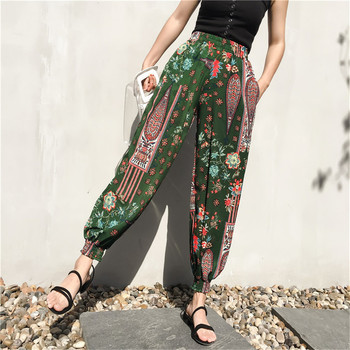 2018 New BoHo Women's Harem Pants Bohemian Summer Women Pants With Pockets Womens Floral Print High Waist Sweatpants Trousers