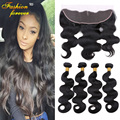 Raw Indian Lace Frontal Closure With Bundles 8a Indian Virgin Hair Body Wave With Closure Rosa Human Hair Bundles with Closure