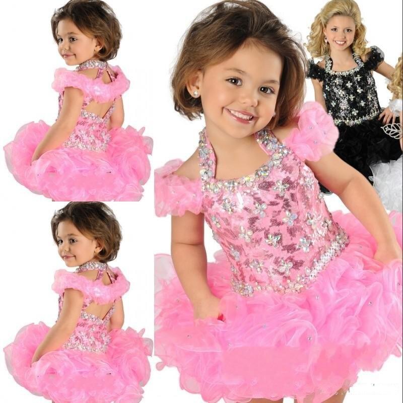 Супер очаровательное бальное платье с лямкой на шее, торжественное платье с кристаллами, украшенное бусинами, ручной работы, с рюшами из органзы, нарядное платье для девочек