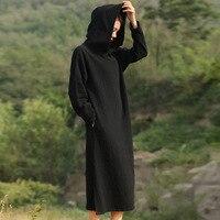 Solid Black Red Long Sleeve Hooded Mid Long Dress Women Autumn Cotton Linen Vintage Dress Novelty