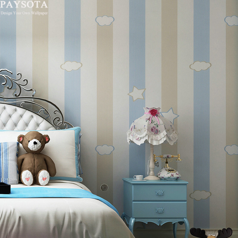 PAYSOTA Cartoon Stars Clouds Non-woven Wallpaper Children Room Warm Pink Blue Violet Green Stripe Bedroom Wall paper paysota cartoon castle children room wallpaper princess girl bedroom lovely pink household wall paper roll