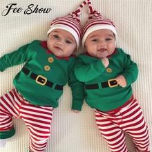 Высокое качество для маленьких мальчиков и девочек осенний Рождественский комплект рождественской одежды одежда для малышей мальчиков и девочек Ромпер брюки шляпа, наряды одежда