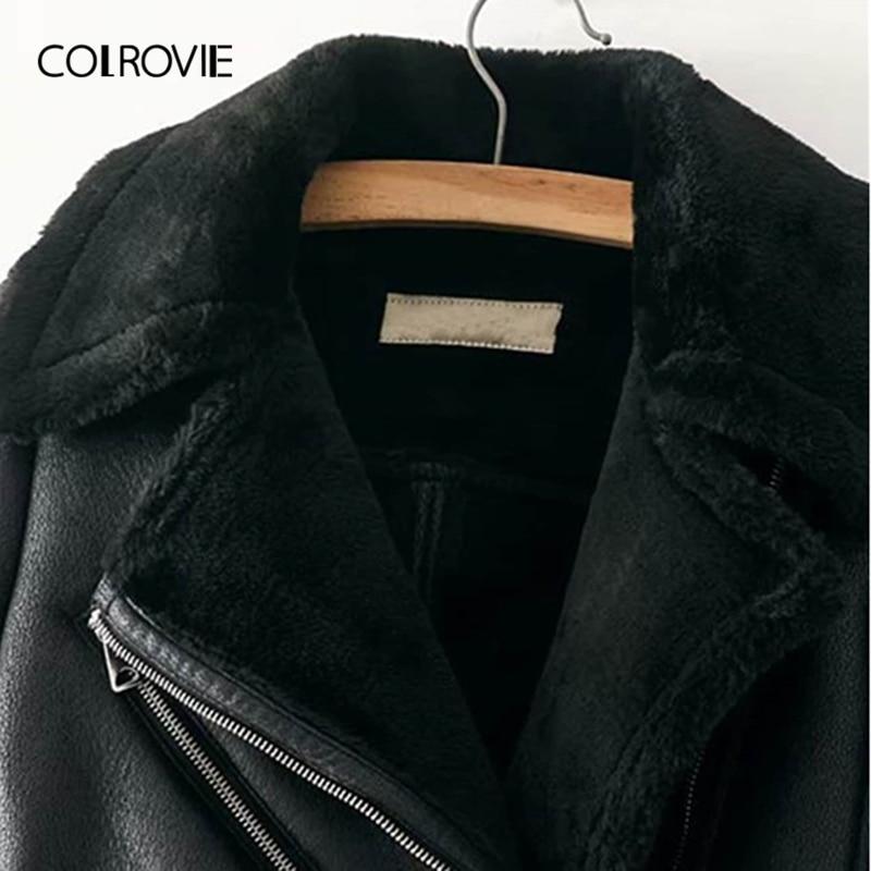 COLROVIE Zwart Zipper Pocket Faux Bont Gevoerd PU Leren Jas Jas Vrouwen 2019 Fashion Warme Dikke Dames Jassen Vrouwelijke Bovenkleding-in Eenvoudige Jassen van Dames Kleding op  Groep 3
