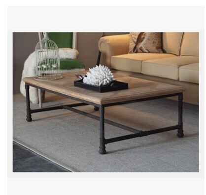 American Law Rustic Furniture, Vintage Industrial Style Coffee Table ,  Wrought Iron Coffee Table Rectangular