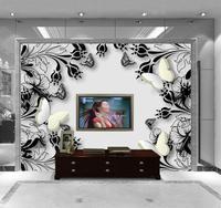 3D Wallpaper Custom Mural Beauty Non Woven Wall Paper 3 D Fashion Background Wall Butterfly Hand