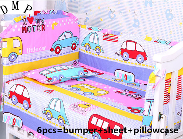 Promotion! 6PCS Cartoon Customize baby bed around set unpick and wash bedding piece set (bumper+sheet+pillow cover) promotion 6pcs cartoon bed set baby bedding set for newborn easy to unpick and wash include bumper sheet pillow cover