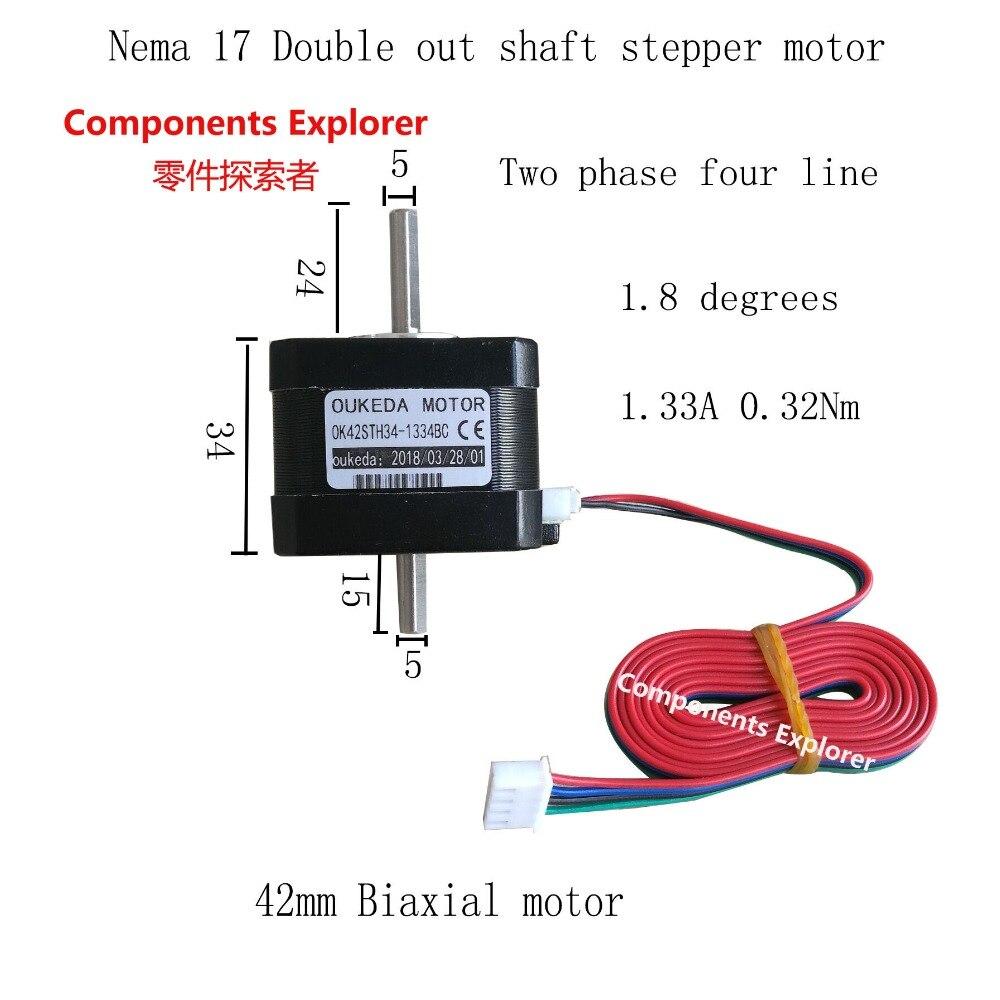 Nema 17 42BYGH34 stepper motor 0.32Nm 1.8 degrees 42 double shaft motor for 3D printer kingroon 1pc 3d printer kossel 42 stepper motor 42 two phase stepper motor 1 5a high torque 1 8 degrees with 800mm motor line 0
