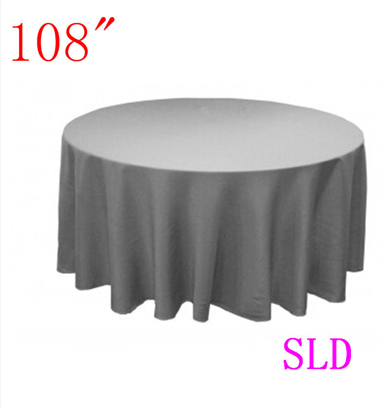 10piece Table Cloths 100% Polyester 108u0027u0027 Round Silver Tablecloth Free  Shipping From China