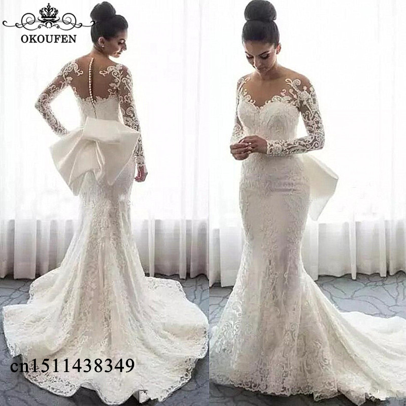 Wedding Dresses Wedding Gown Sheer Long Sleeves White: Dreamlike Mermaid Lace Wedding Dresses With Long Sleeves