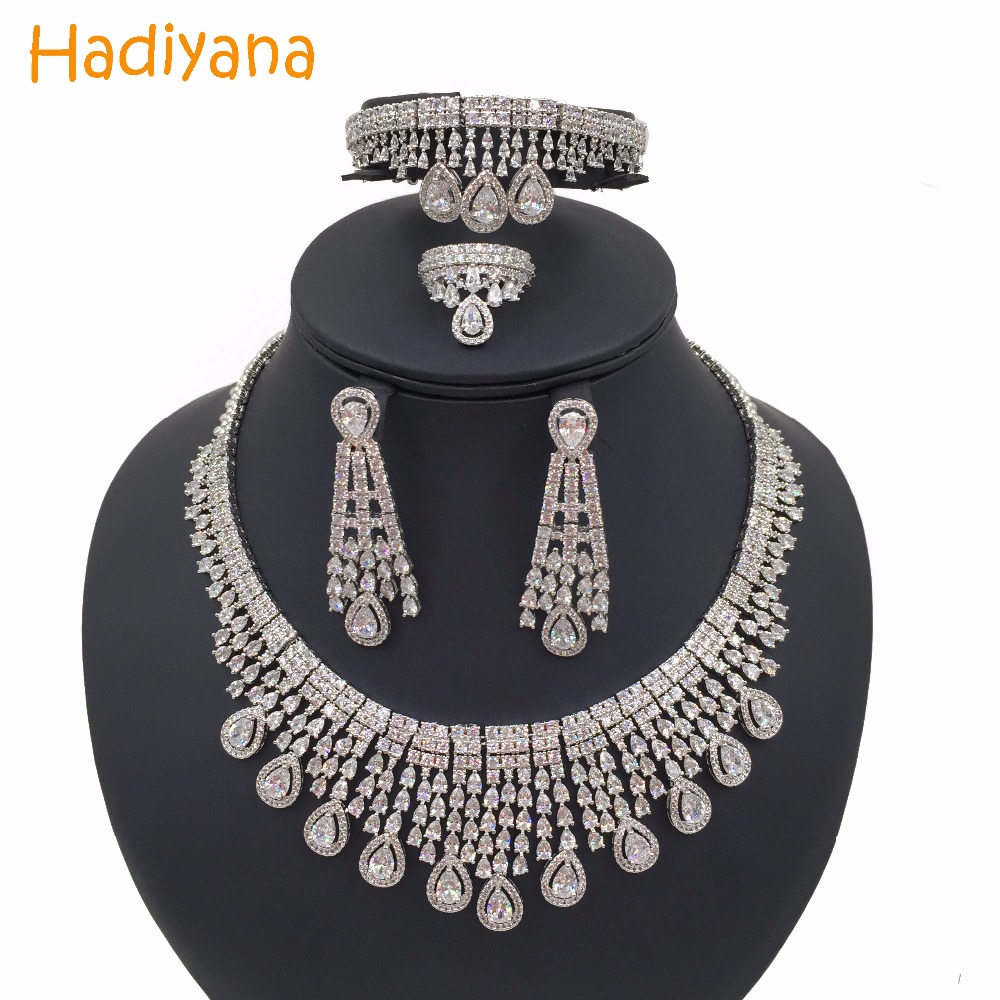 Hadiyana Sparkling Water-drop Tassel Wedding Bridal Jewelry Sets With Cubic Zirconia Hot Dubai 4pcs Jewelry Set For Women CN292 цены онлайн