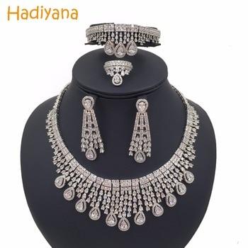 Hadiyana Sparkling Water-drop Tassel Wedding Bridal Jewelry Sets With Cubic Zirconia Hot Dubai 4pcs Jewelry Set For Women CN292