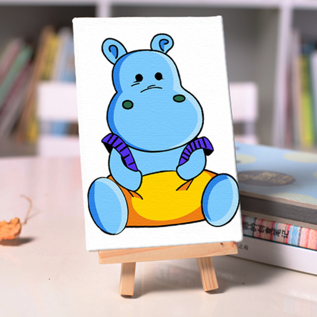 DIY oil Painting cute hippo coloring By Numbers children student ...