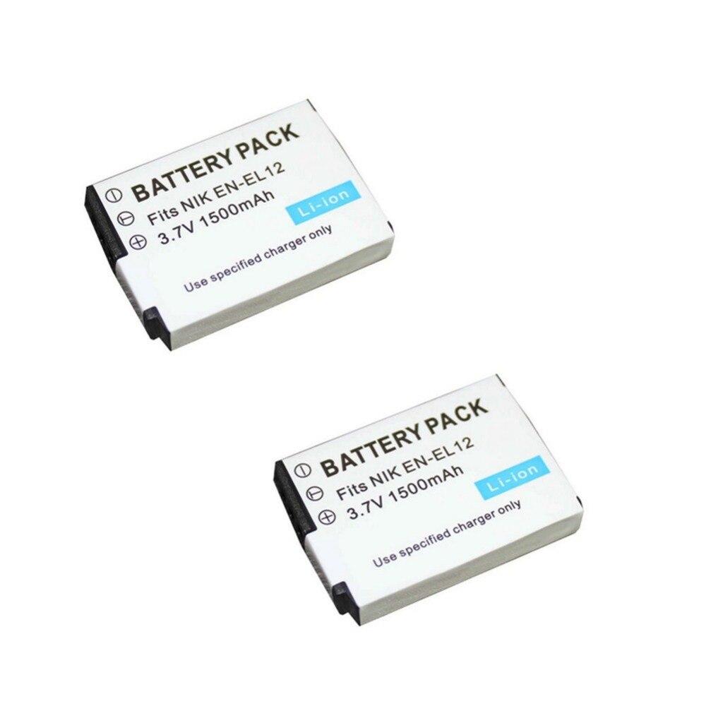 2 pcs 1500 mAh ENEL12 EN EL12 Battery for Nikon Coolpix