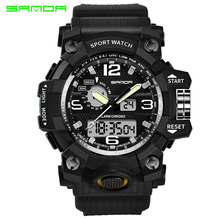 SANDA Military Sport Watch Men Top Brand Luxury Famous Electronic LED Digital Wrist Watches For Men Male Clock Relogio Masculino