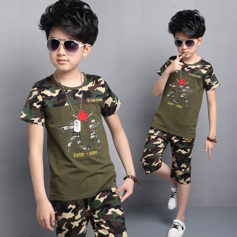 цены  Brand Camouflage Kids Outfits Short Sleeve Tees & Shorts Summer Sportswear Teenage Children Clothing Sets For Boys Sports Suits