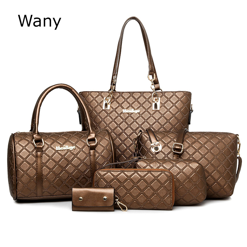 Women's Handbags 6 Pcs/set Women's Handbag Fashion Plaid Shoulder Bag Handbag Messenger Bag
