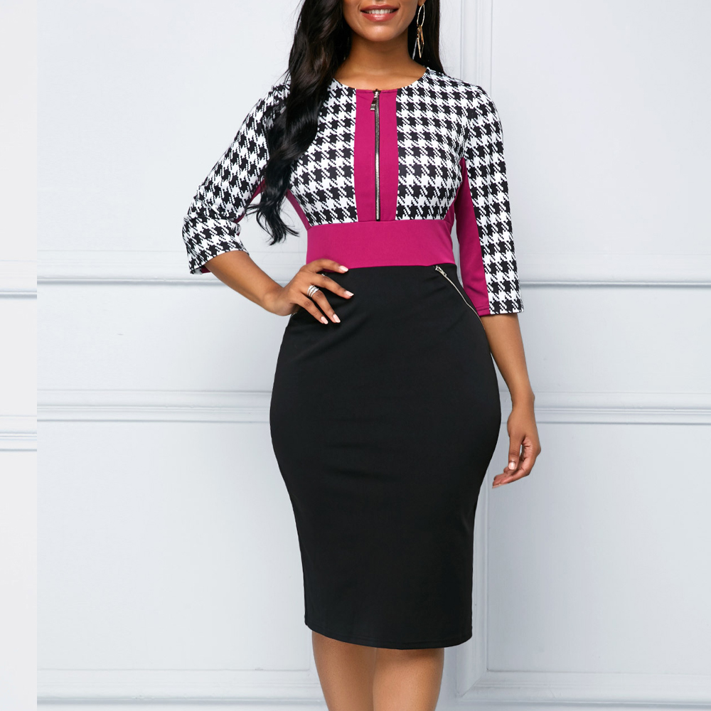 Autumn Dress Women Casual Plus Size Slim Office Pencil Dress