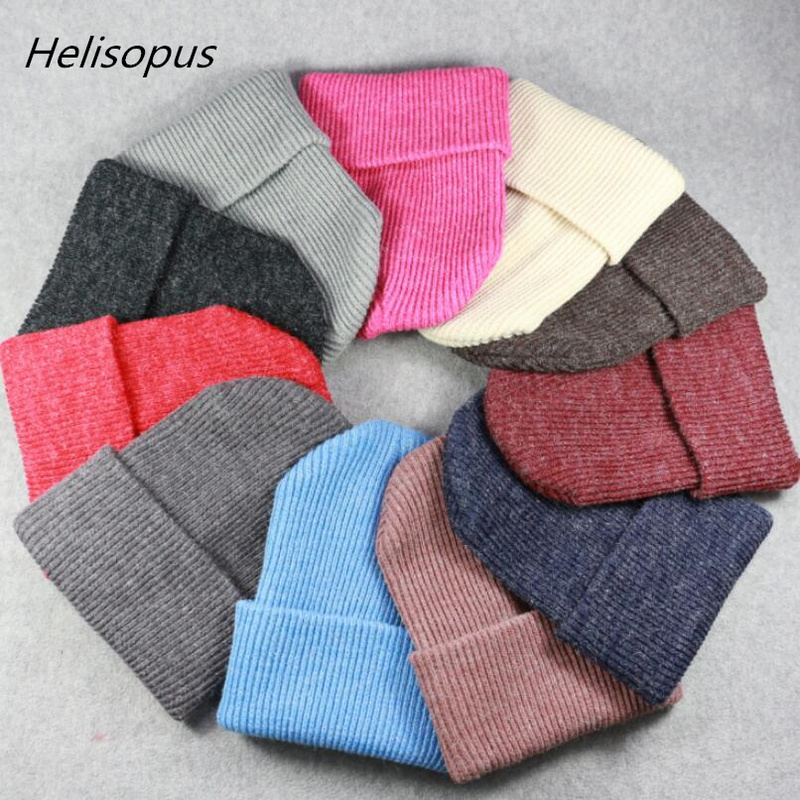 Helisopus 2019 New Winter Hats for Women Warm Crochet Knitted Caps   Skullies     Beanies   Fashion Solid Color Elastic Winter Hats Caps