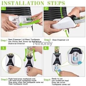 Image 5 - Creativo distributore automatico di dentifricio portaspazzolino dentifricio spremiagrumi Kit supporto da parete organizzatore Set dispositivo lavaggio ad aspirazione