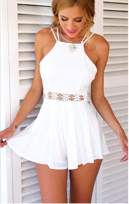 HTB1qEq8HpXXXXbFXXXXq6xXFXXX8 - Women White Cami Playsuit Skirt Shorts JKP185