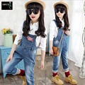 Brand New Autumn Teenage Girls Denim Pants Girl Denim Pants Kids Overalls Jeans Girls Denim Overalls Cowboy Straps Trousers3-15Y
