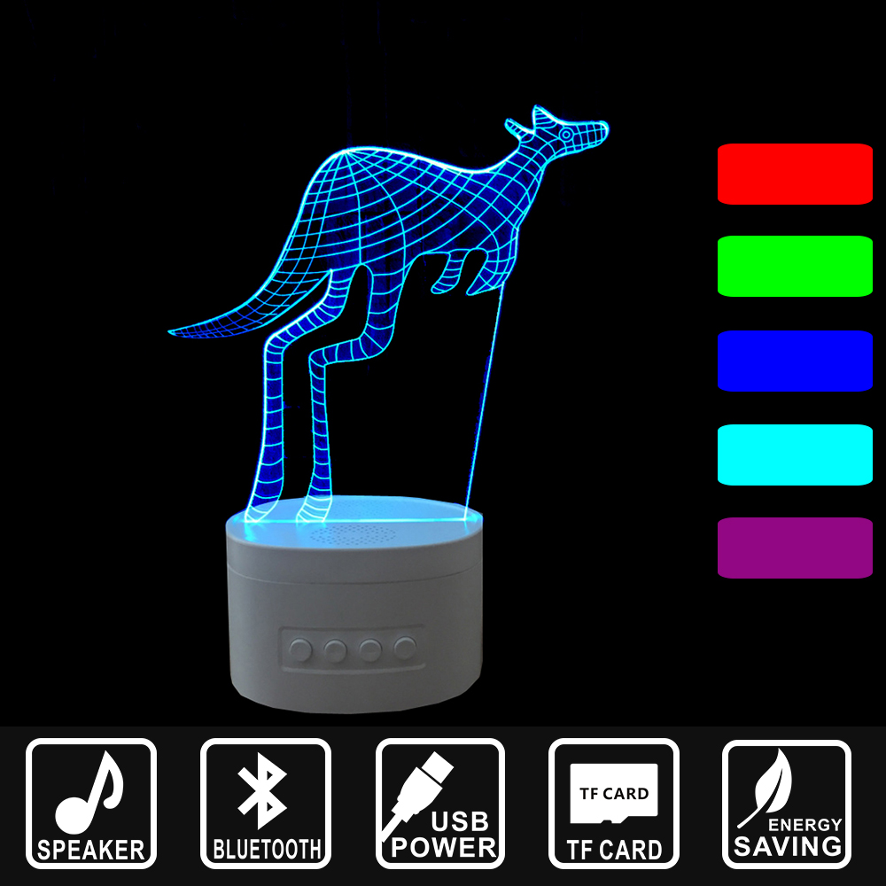 Kangaroo USB rechargeable Lampara Holiday gift LED decor Light Bluetooth Speaker 3D Music Nightlight Asmosphere Lamp IY803788 decor and gift