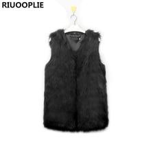 RIUOOPLIE Autumn Winter Faux Fur Vest Colete De Pele Falso Jacket Casacos Femininos Womens Coat Plus Size(China)
