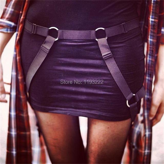 Harajuku Punk gótico Nylon elástico de cintura Cincher cinto coxa alta Garter suspensórios