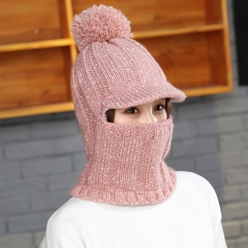 Girl Warm Ski 2018 New Brand Big Fur Pom Poms Ball Knitted