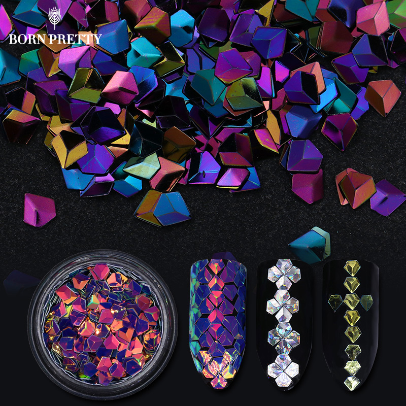 6 Boxes Holographic Chameleon Diamond Nail Sequins Set Laser Colorful Flakies Manicure Nail Art 3D Decoration blueness 1 set mixed 12 colors laser nail glitter sequins diy manicure colorful 3d nail decoration studs nail art sticker zp333