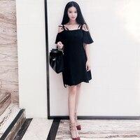 Verano japonés Harajuku vestido mujeres Corea moda vendaje sexy negro correa de espagueti lindo Vestidos Hepburn hombro vestdios