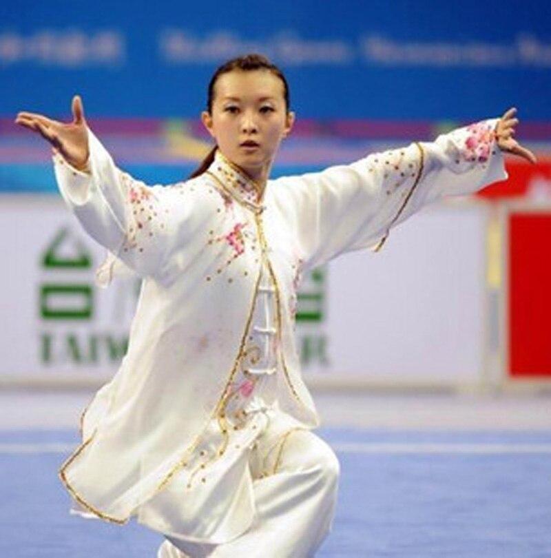 Custom Made Silk Womens Girls Tai Chi Kung Fu Clothing Embroidery Taiji Wushu Suits Three-Pieces Set