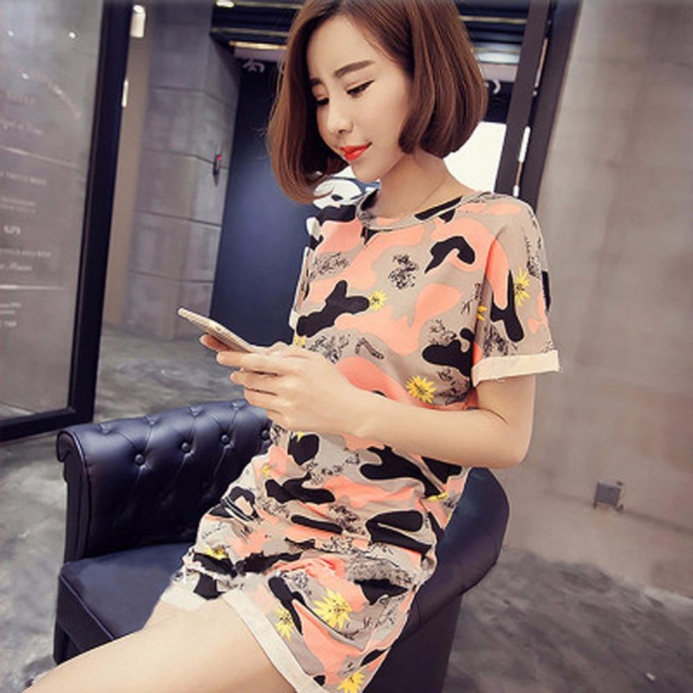 Cute Women Pajamas sets Cartoon printed T shirt Top + Shorts Summer 2017 Brand Ladies Short Sleeve Women nightgrowns Hot