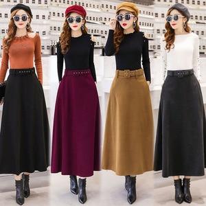 Image 2 - 2020 חורף צמר מקסי חצאיות לנשים בציר עם חגורת מותניים גבוהים מזדמן Streetwear ארוך חצאית חאקי אדום שחור