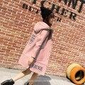 PODE DEIXA o AMOR de Médio-longo Com Capuz Casacos De Lã Das Mulheres Letras de Patch Designs Outwear Feminino