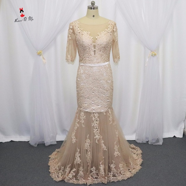 Robe de Soiree Courte Champagne Mermaid Lace Formal Evening Dresses ...