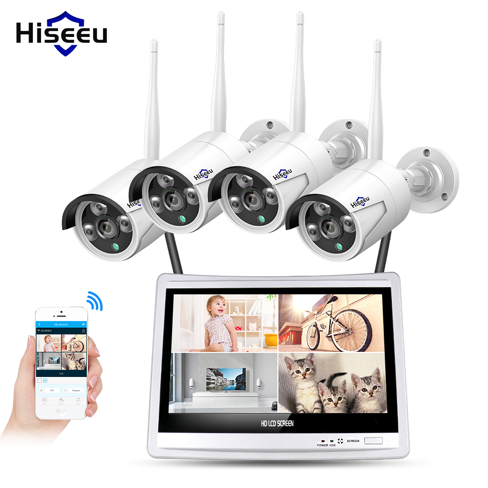 12'' Displayer 4pcs 1080P Wireless CCTV IP Camera System 4CH NVR wifi video surveillance home Security System Kit Hiseeu