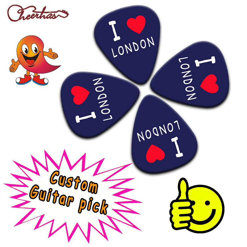 100pcs Real personalized customized standard traingle or teardrop guitar pick plectrum Can print yourself names and logo image