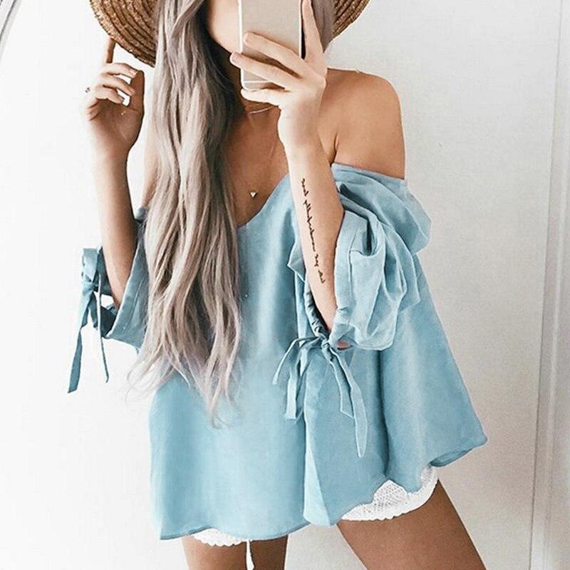 Blouses     Shirts   Women Casual Blusas 2017 Summer Women Tops Cotton Sexy Off Shoulder Slash Neck Cool   Blouse   Plus Size tube top