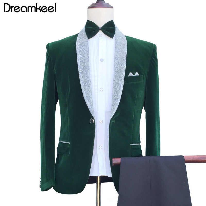ワンダフル新郎男性の結婚式ウェディングスーツグリーンスリムフィットタキシード男性フォーマルスーツ 3 個セット (ジャケット + パンツ)