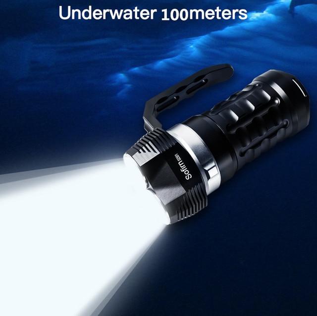 Sofirn SD01 צלילה פנס 3 * Cree XPL 3000LM LED אור מתחת למים זרקור 18650 עוצמה צלילה אור LED פנס