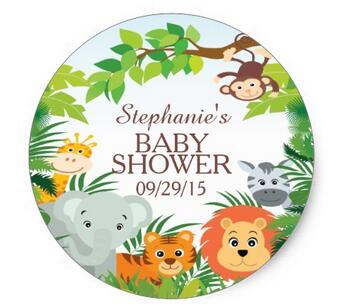 Office & School Supplies Lovely 1.5inch Cute Safari Jungle Baby Shower Favor Sticker
