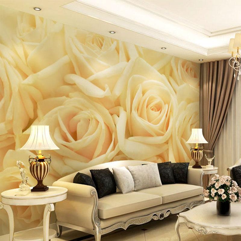 3D photo wallpaper 3D sofa TV background wall rose petals wallpaper bedroom living room hotel ...