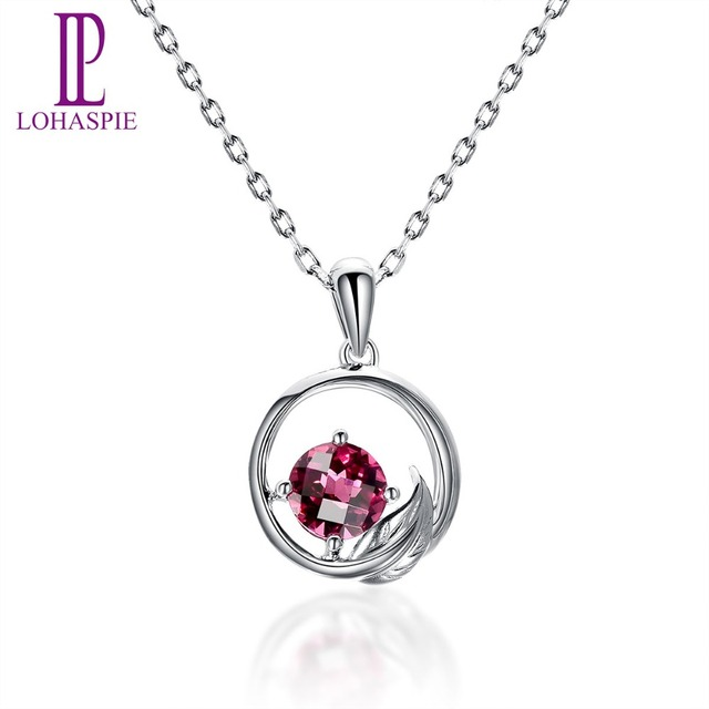 Lohaspie Solid 18K 750 White Gold Genuine Rhodolite Garnet Round Shape Pendant New For Women's Gemstone Fine Stone Jewelry New