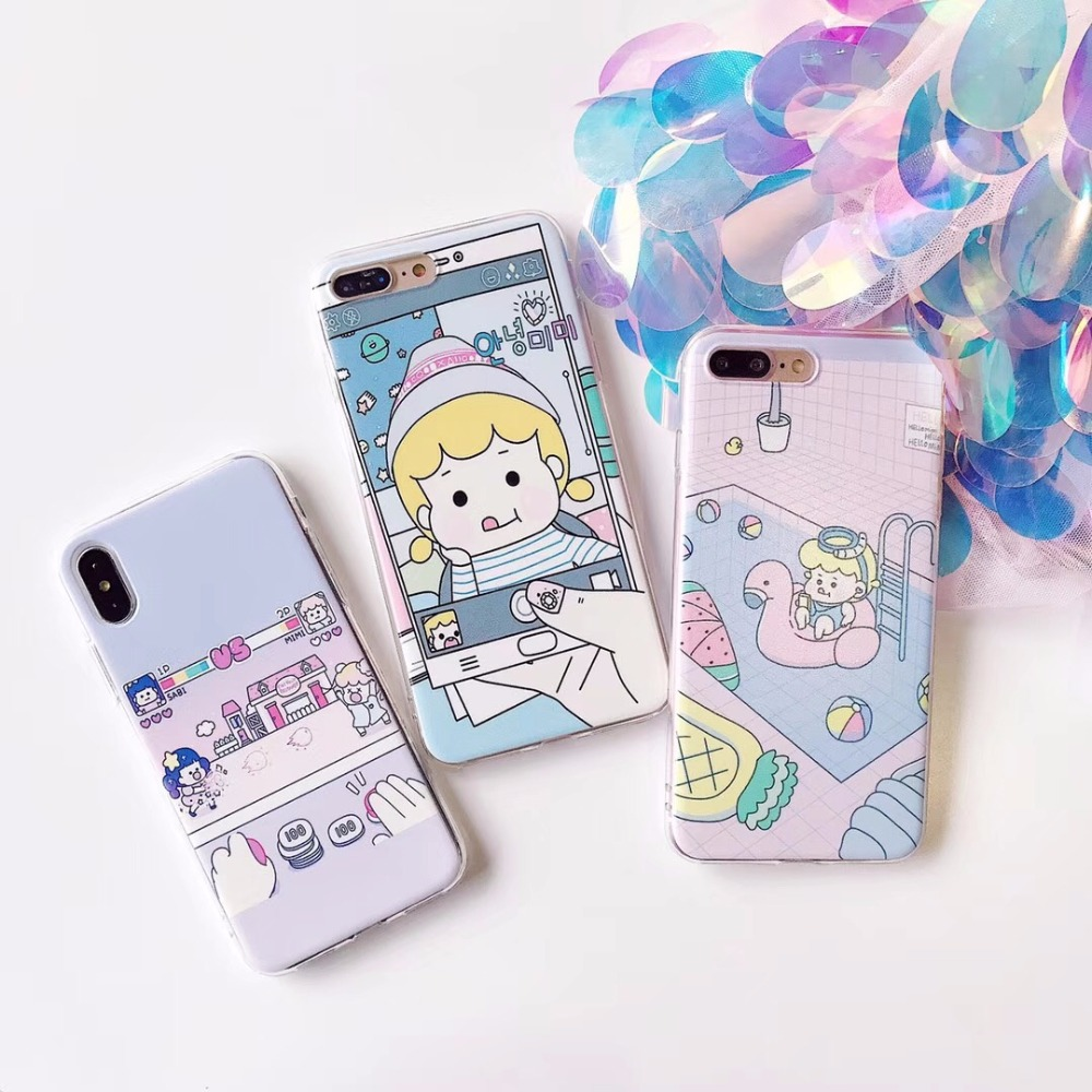 Lovely Girl Selfie Chid Life Cases For iphone 7 Case Cartoon Cute Game Play Case Soft TPU For iphone7 8 Plus X Back Cover