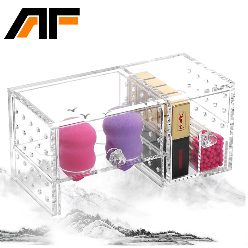AF Acrylic Cotton Pad Organizer Storage Box Makeup Organizer Bathroom Cotton Swabs Box Organizer C159