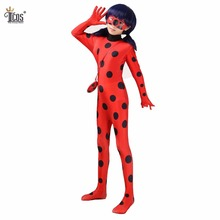 Miraculous Ladybug Costumes Lady Bug Kids Cosplay Costume Spandex Lycra Second Skin Tight Suit Halloween One Piece Bodysuit(China)