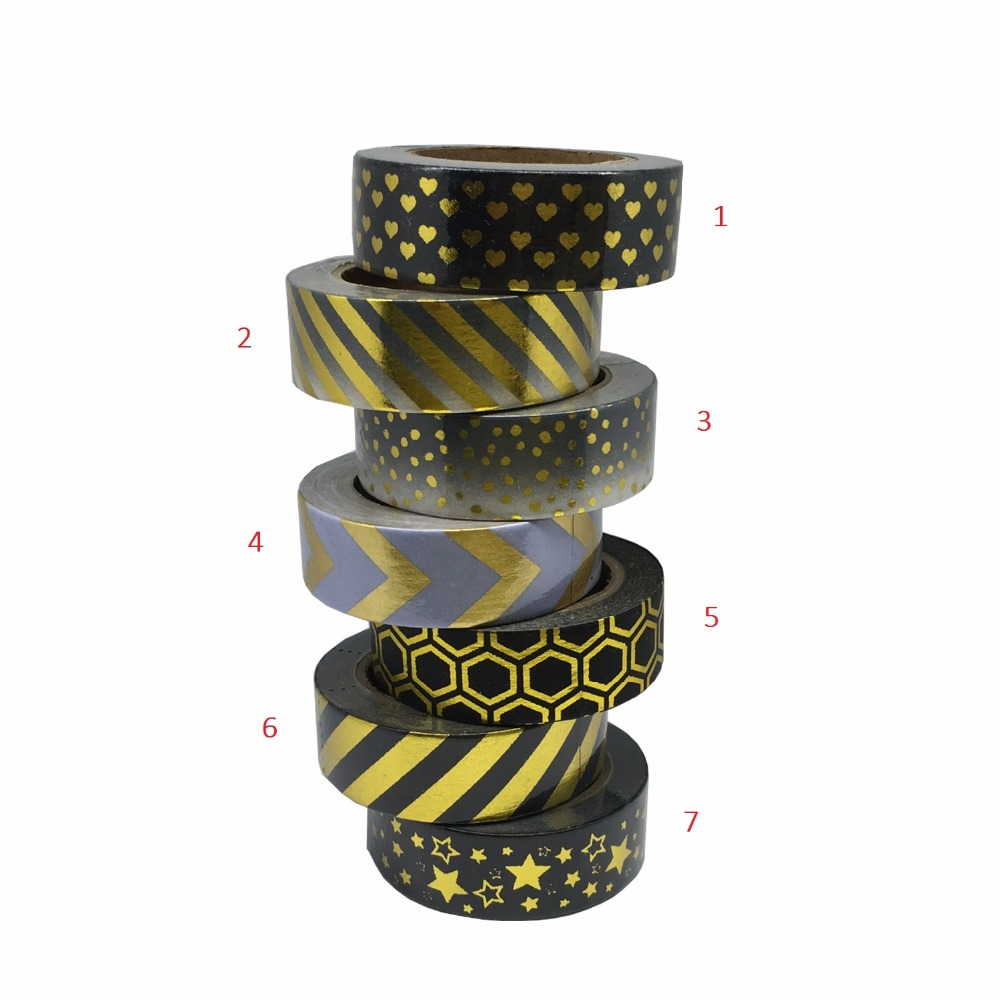 Black Dot Gold Foil 10m Washi Paper Kawaii Fita Adesiva Adhesive Scrapbooking Tools Kawaii For Photo Album Cute Decorative new foil washi tape point dot set adhesive kawaii scrapbooking tools for photo album cute decorative christmas gift paper crafts